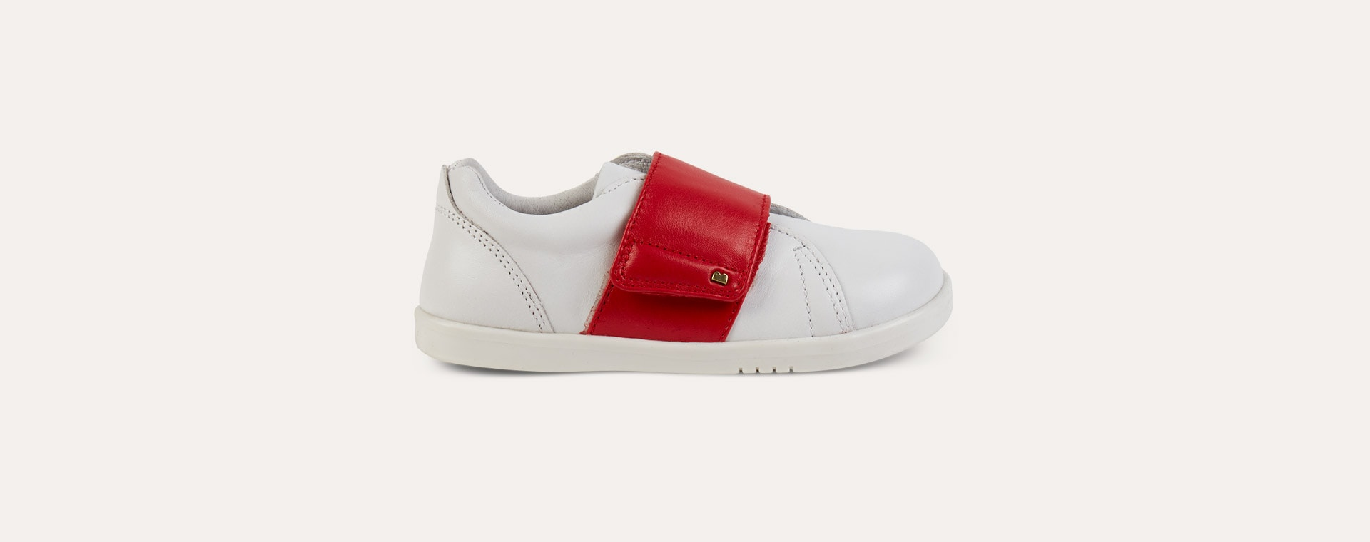 White Red Bobux Kid+ Boston Trainer