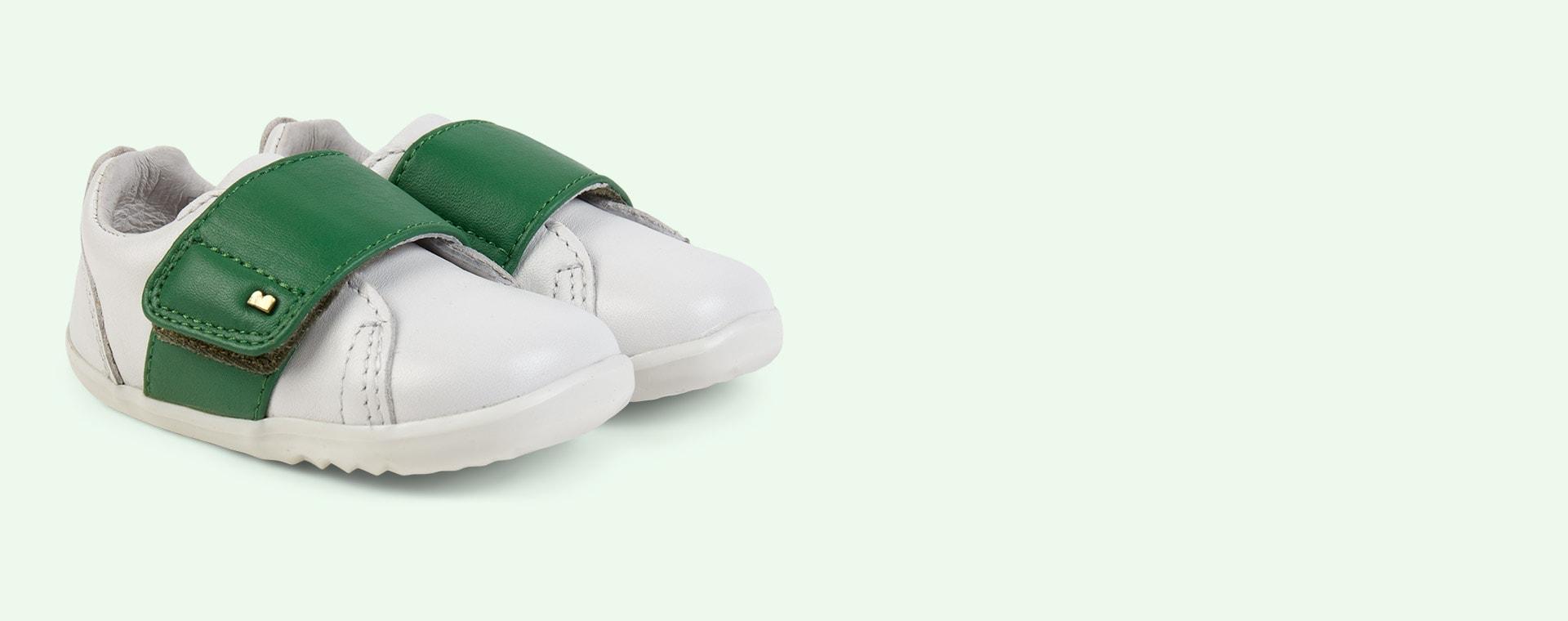 White emerald Bobux Step Up Boston Trainer
