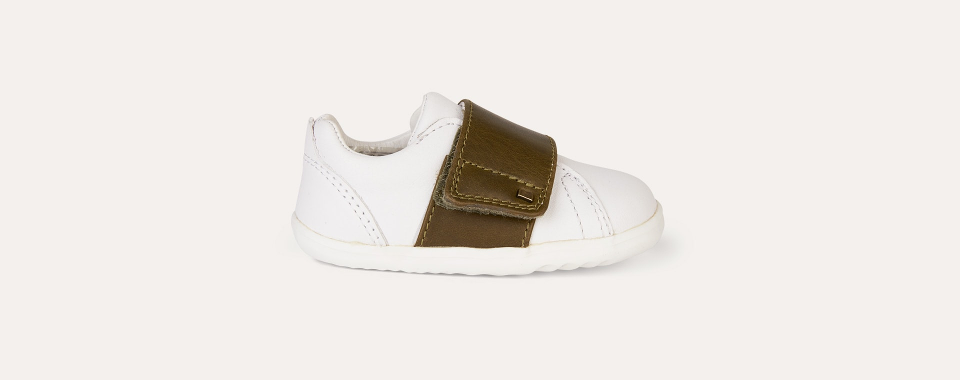 White & Olive Bobux Step Up Boston Trainer