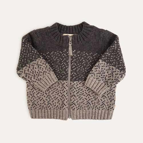 Grey The Bonnie Mob Chunky Knitted Cardigan