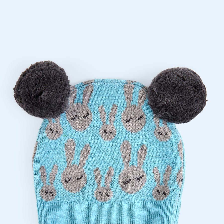 Pale Blue The Bonnie Mob Bunny Jacquard Pom Pom Hat
