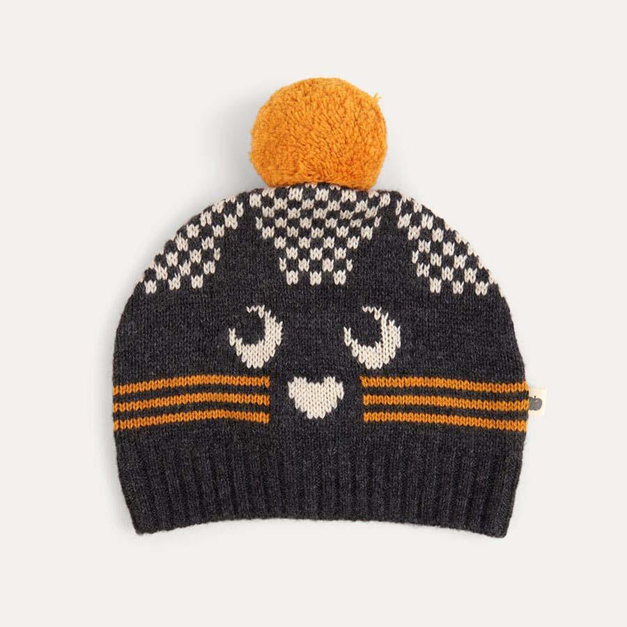 Grey The Bonnie Mob Cat Intarsia Pom Pom Hat