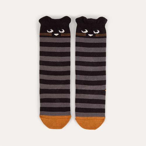 Grey The Bonnie Mob Stripy Cat Knee High Socks