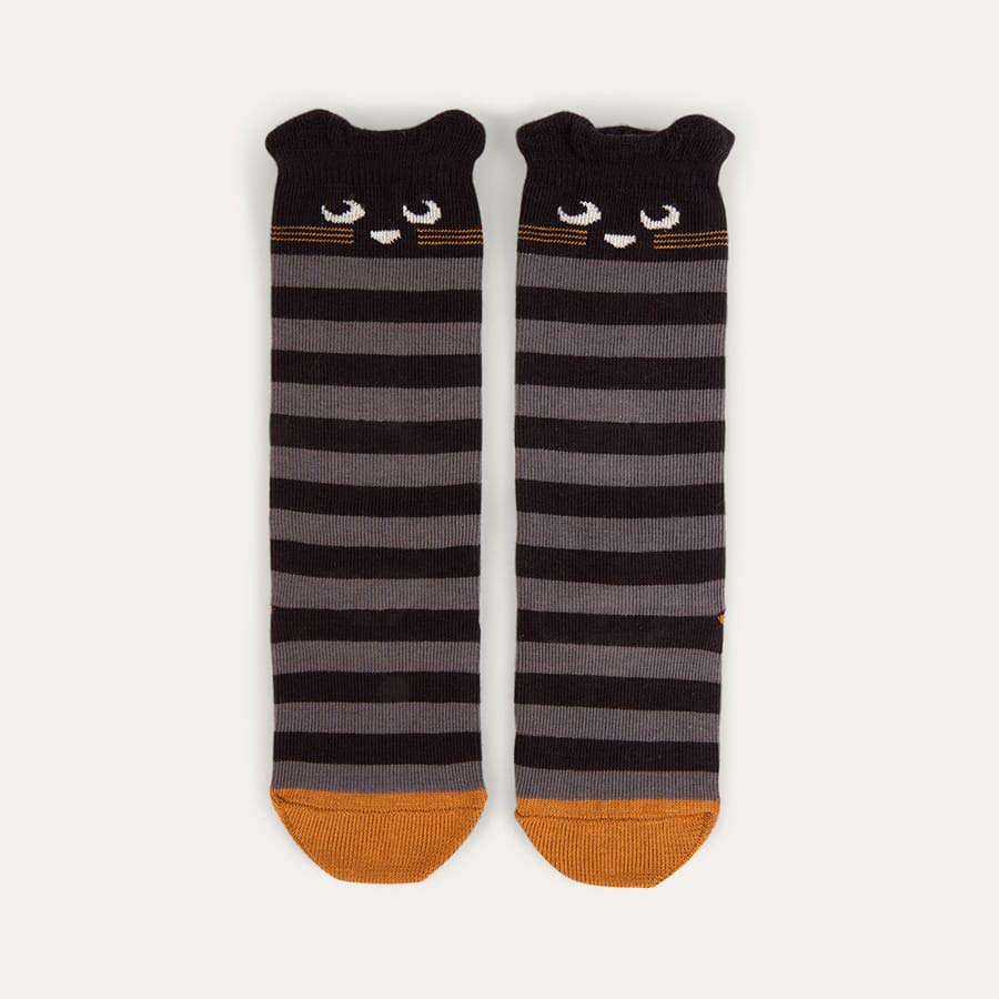 Grey The Bonnie Mob Stripy Cat Knee High Socks