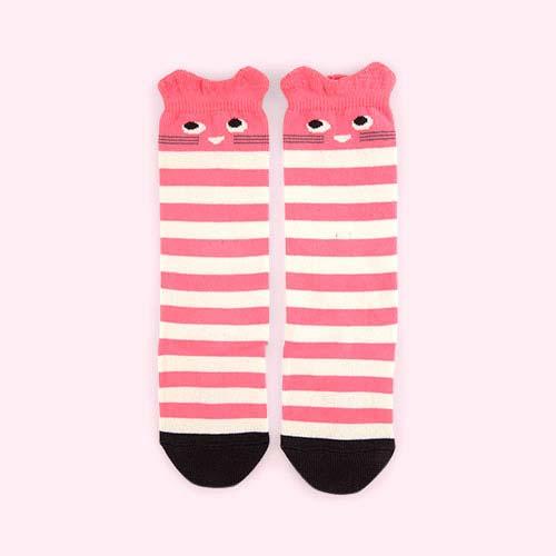 Pink The Bonnie Mob Stripy Cat Knee High Socks