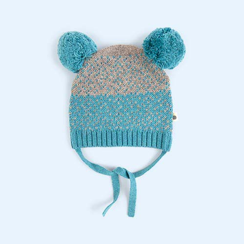 Teal The Bonnie Mob Chunky Knitted Hat With Pom Pom Ears