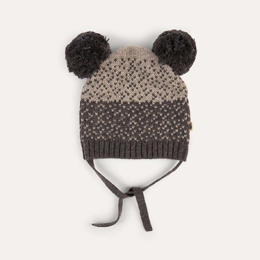 Grey The Bonnie Mob Chunky Knitted Hat With Pom Pom Ears