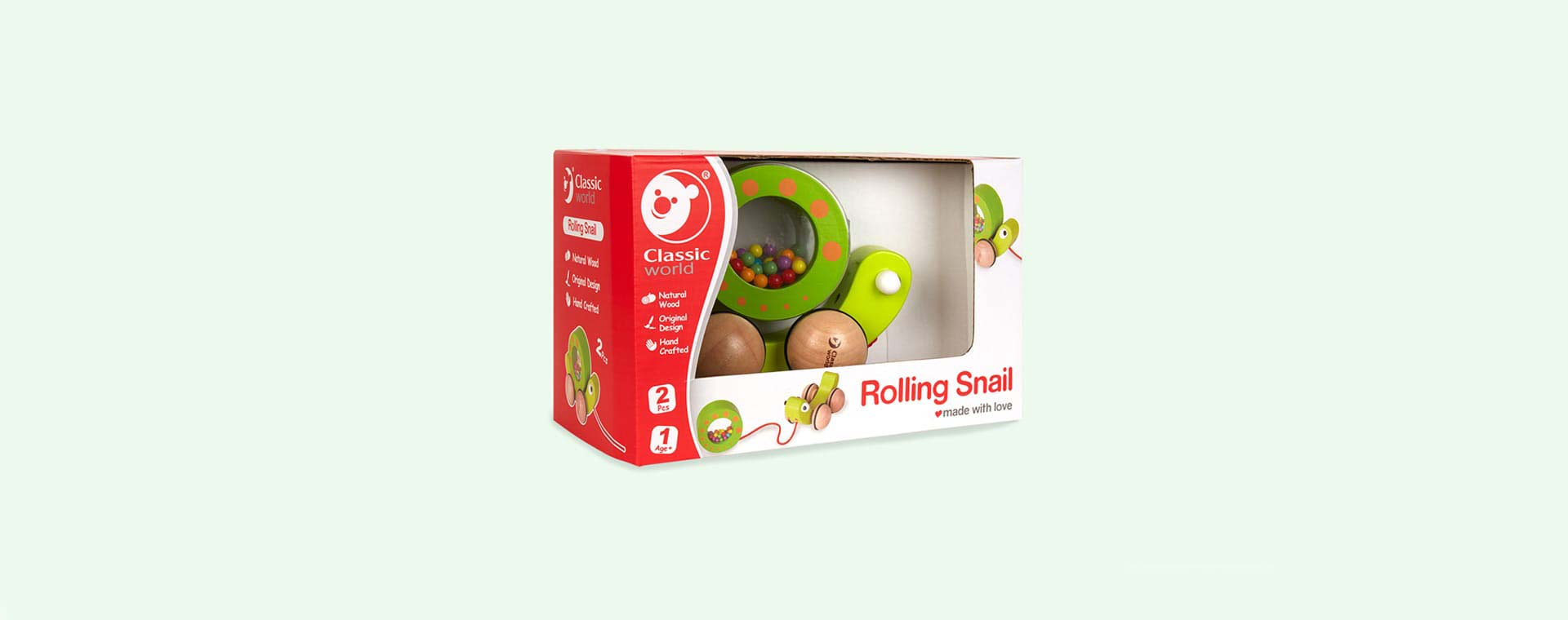 Green Classic World Pull Snail And Rattle