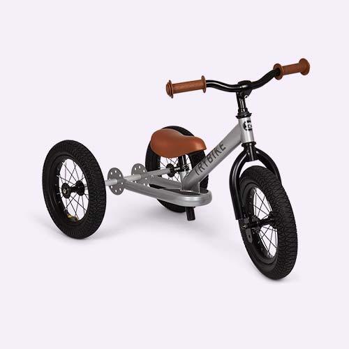 Silver Metallic TRYBIKE Steel 2-in-1 Trike