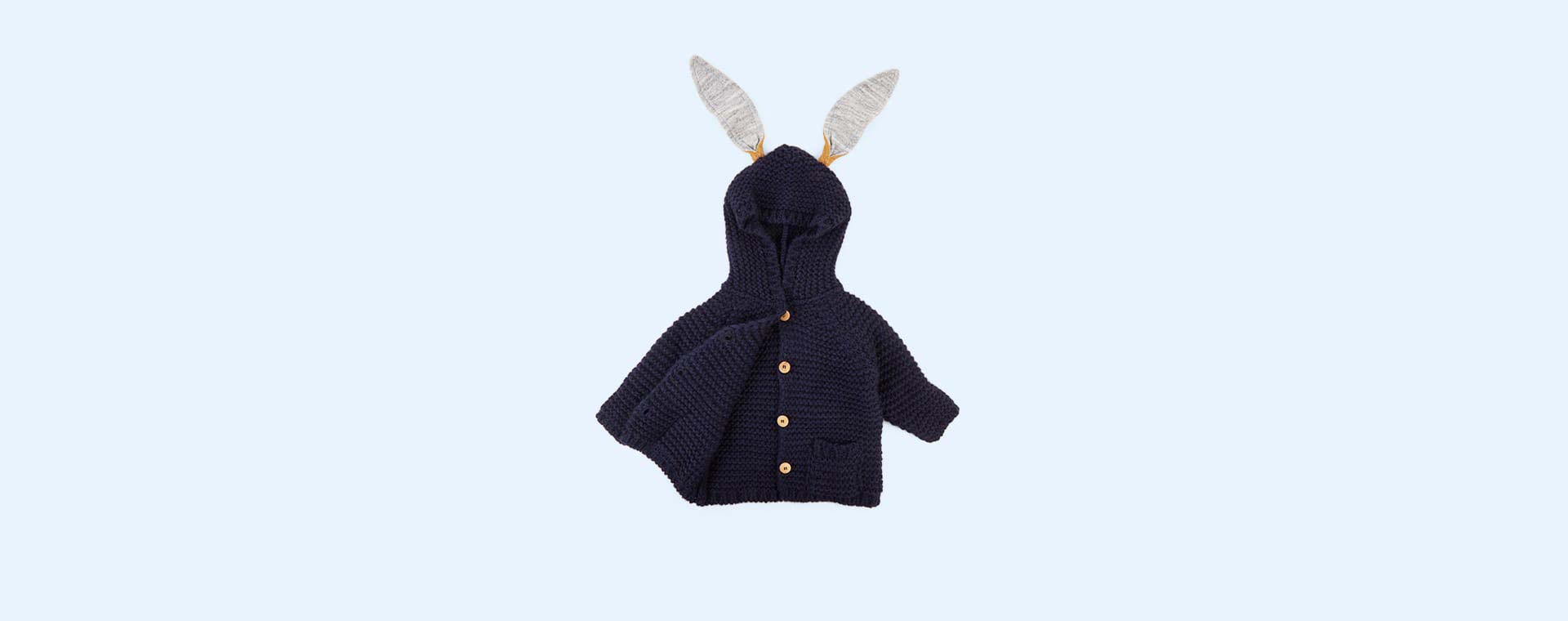 Navy Arsene Et Les Pipelettes Knitted Cardigan With Ears