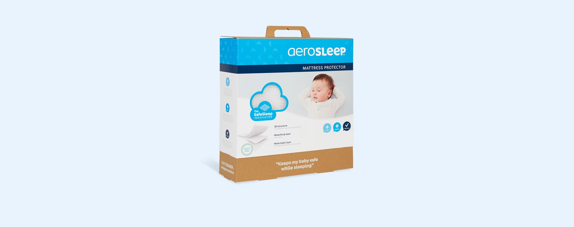 White Aerosleep Sleep Safe Mattress Protector