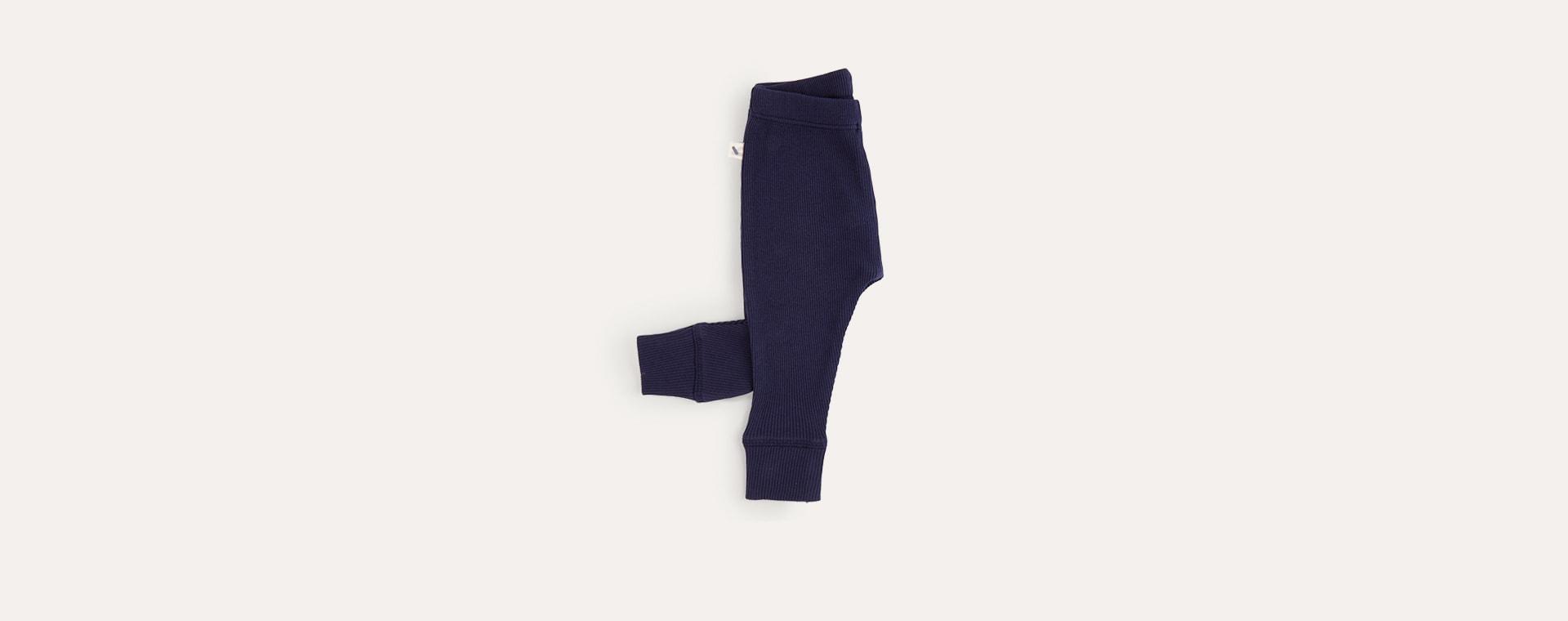 Navy KIDLY Label Ribbed Legging