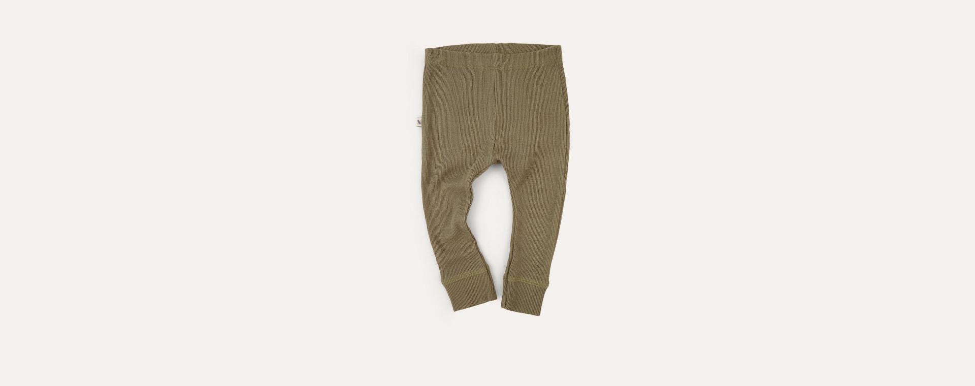 Khaki KIDLY Label Ribbed Legging