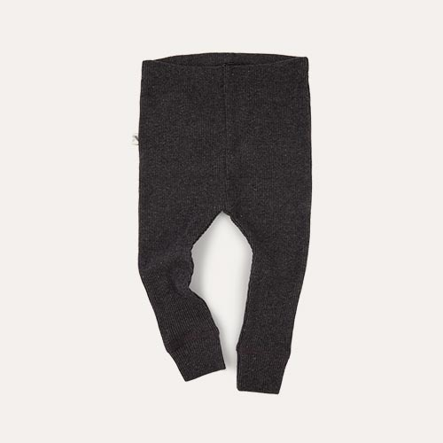 Charcoal KIDLY Label Ribbed Legging