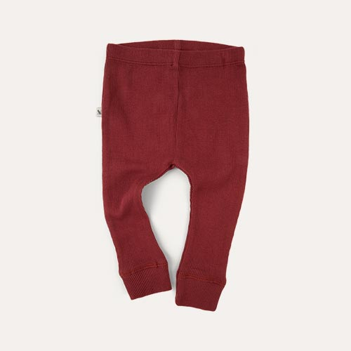 Oxblood KIDLY Label Ribbed Legging