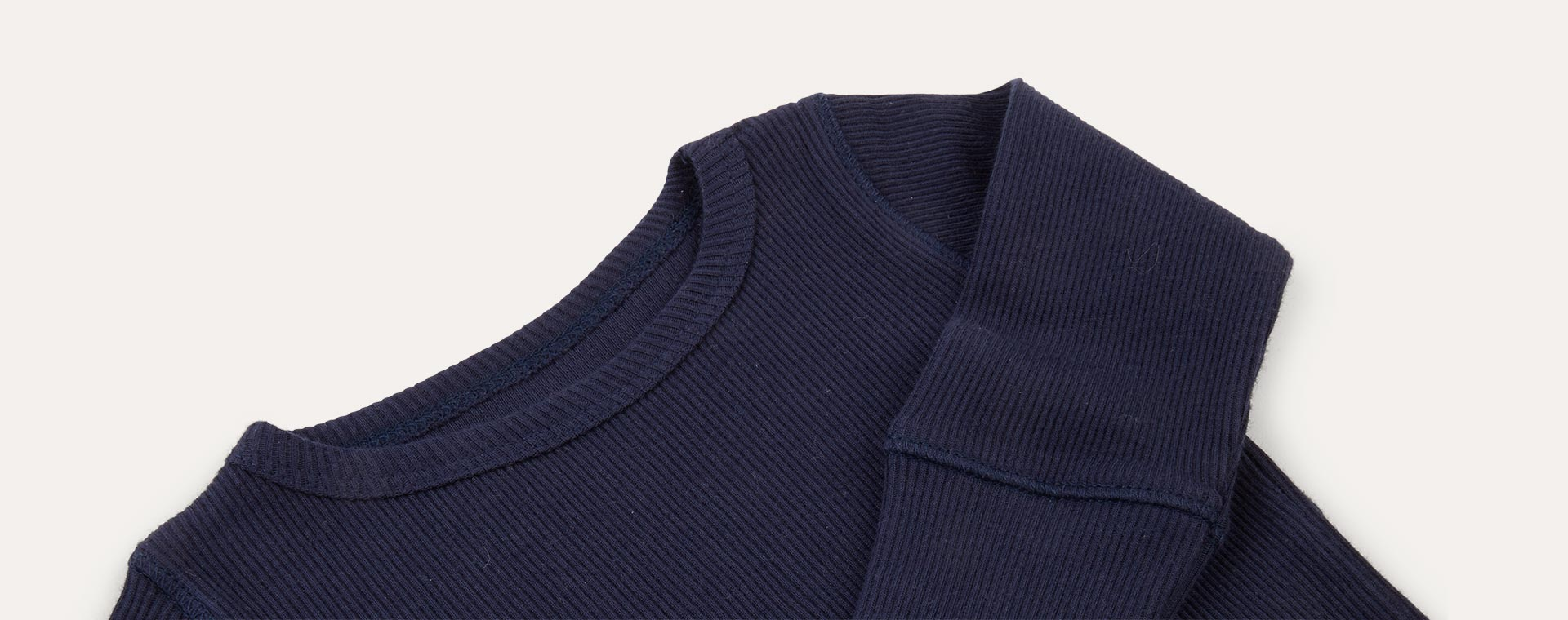 Navy KIDLY Label Ribbed Long Sleeve Tee
