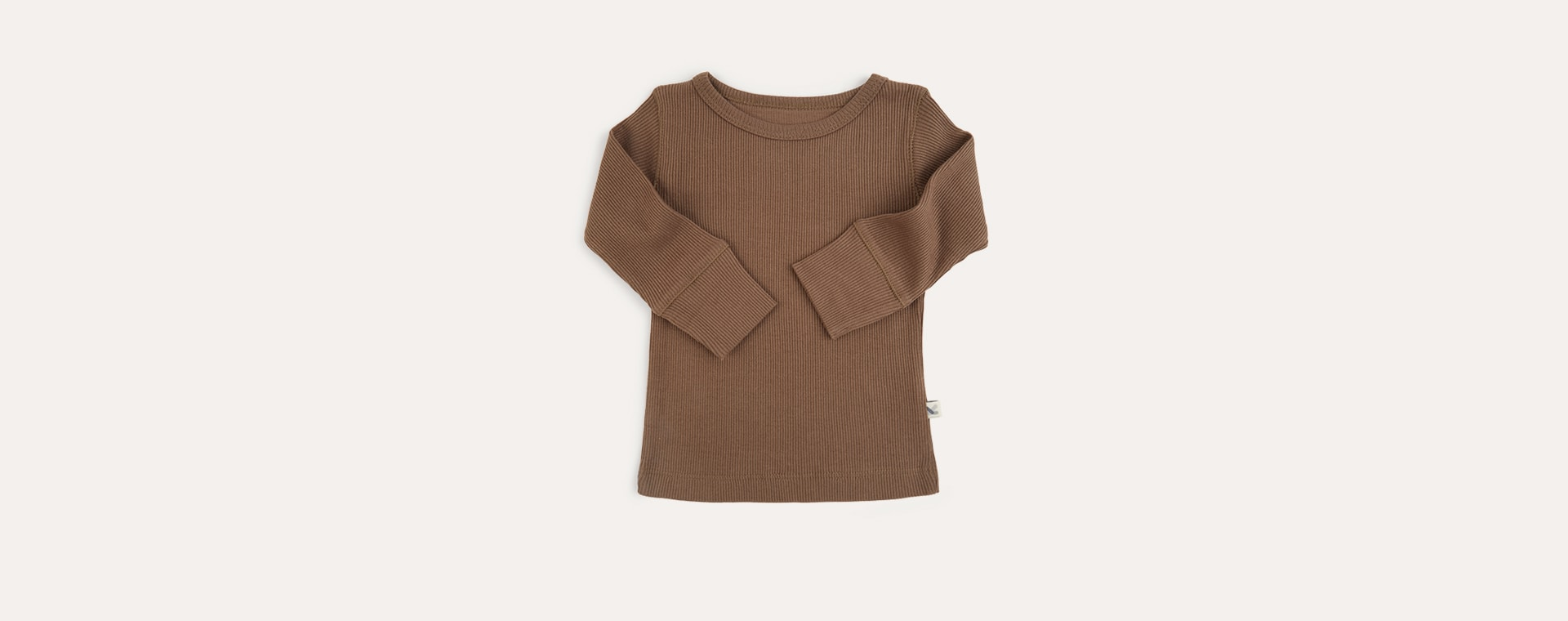 Mocha KIDLY Label Ribbed Long Sleeve Tee