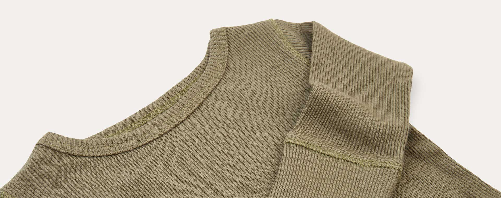 Khaki KIDLY Label Ribbed Long Sleeve Tee