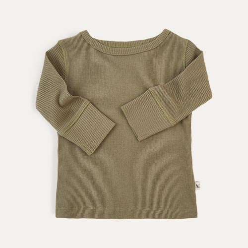 Khaki KIDLY Label Ribbed Long Sleeve Tee