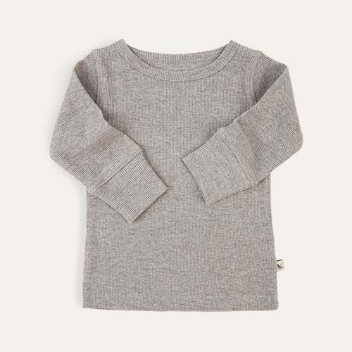 Lt Grey Marl KIDLY Label Ribbed Long Sleeve Tee