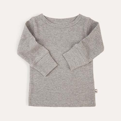 Lt Grey Marl KIDLY Label Ribbed Long Sleeve Tee