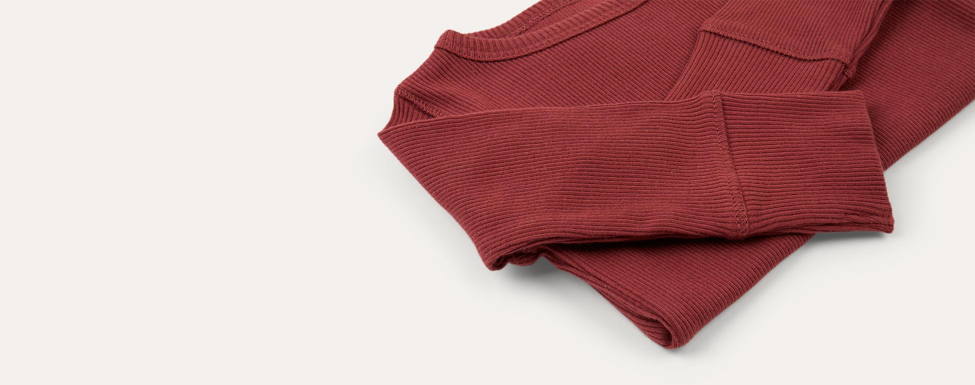 Oxblood KIDLY Label Ribbed Long Sleeve Tee