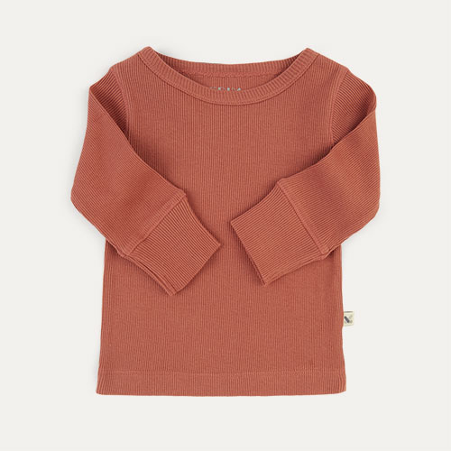 Brick KIDLY Label Ribbed Long Sleeve Tee