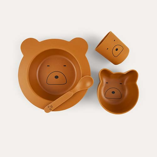 Mr Bear Mustard Liewood Bamboo Baby Tableware Set