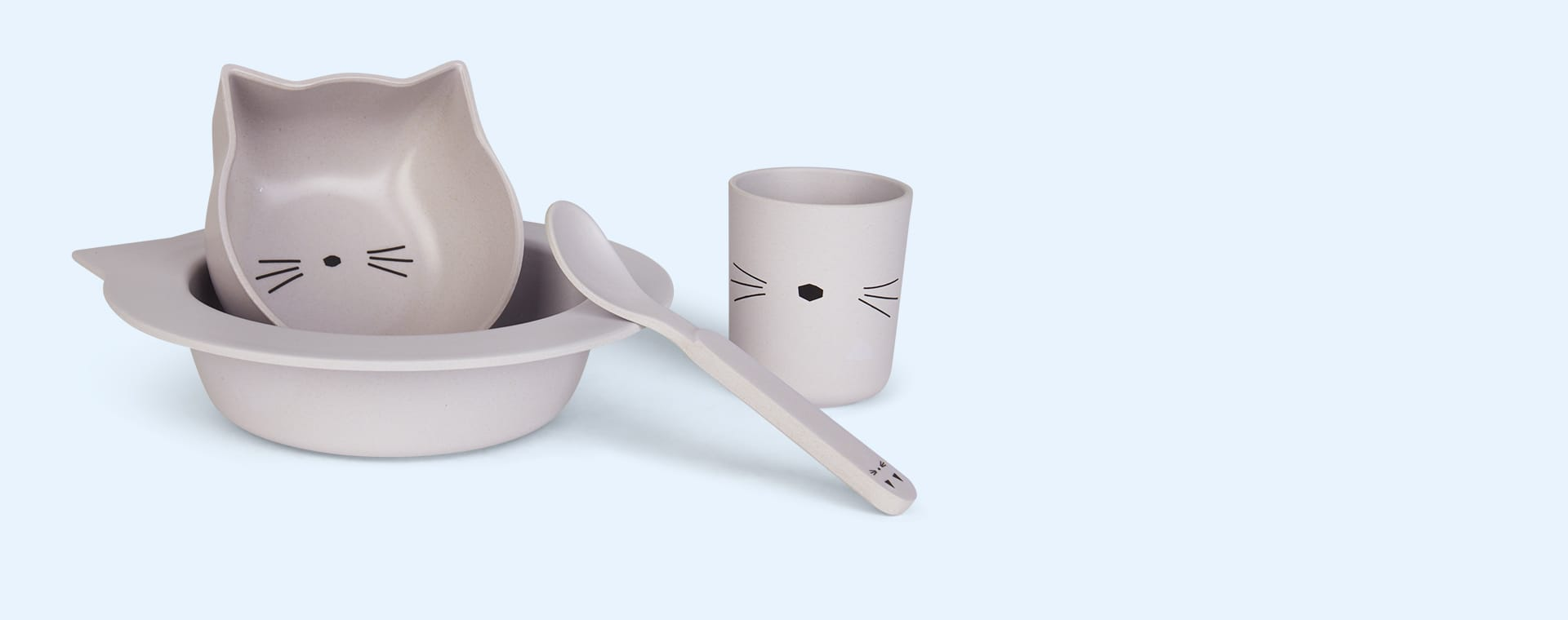 Cat Dumbo Grey Liewood Bamboo Baby Tableware Set