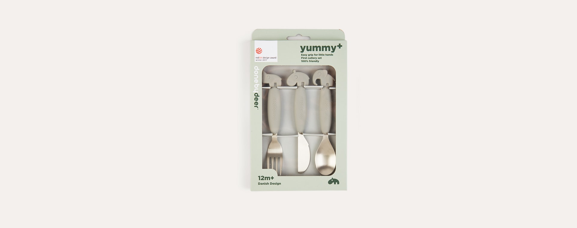 Grey Done By Deer Yummy Plus Easy Grip Cutlery Set