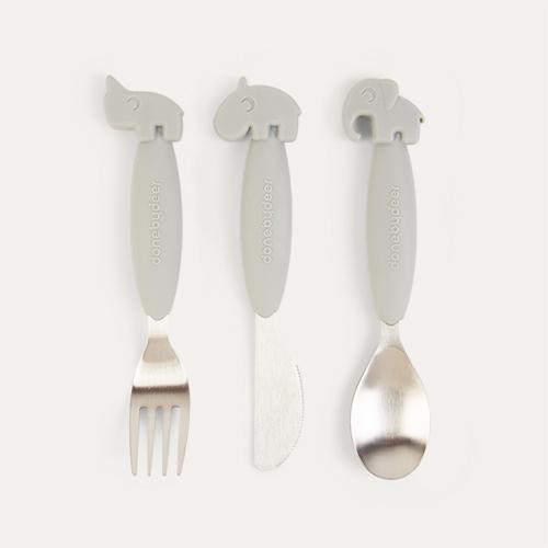 Grey Done By Deer Yummy Plus Easy Grip Cutlery Set