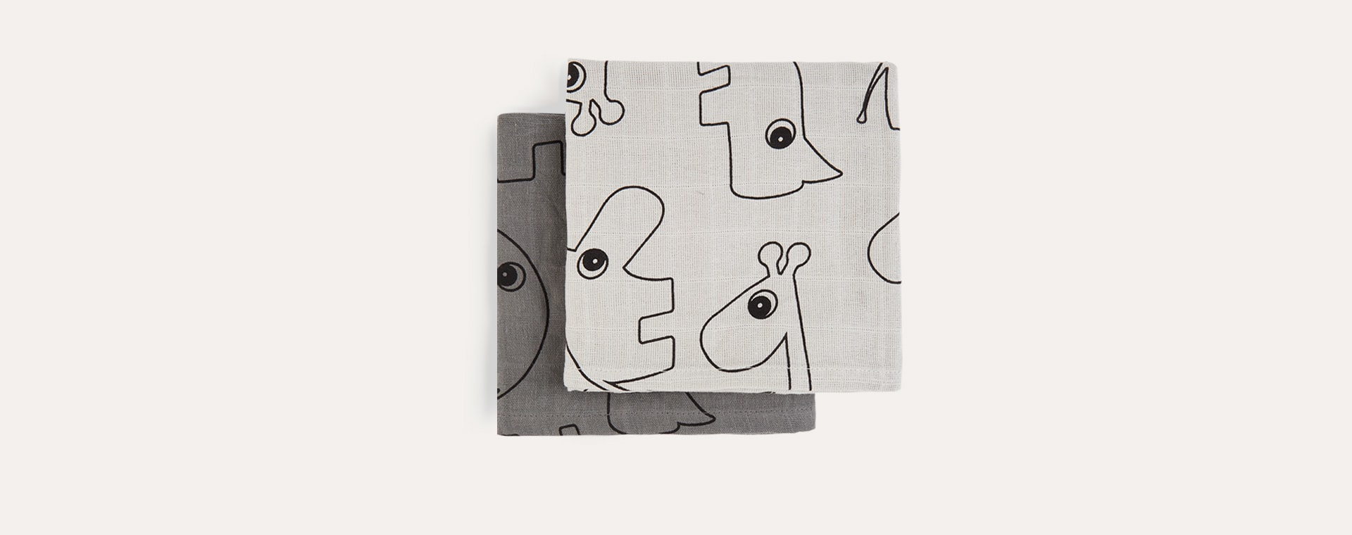 Grey Done By Deer Burp Cloth 2 Pack