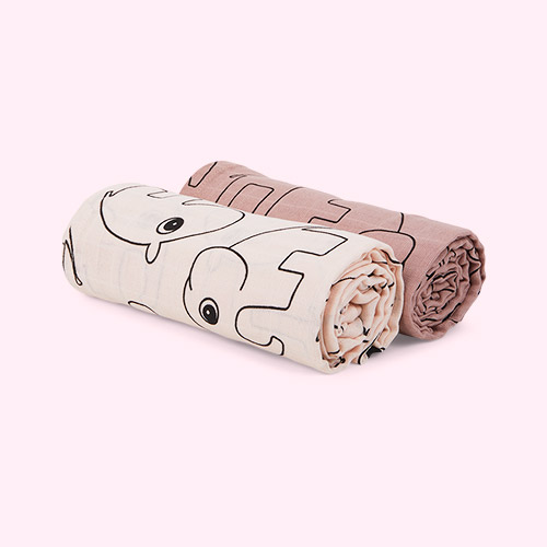 Contour Pink Done By Deer 2-Pack Swaddle