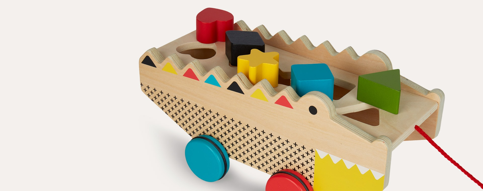 Neutral Petit Collage Shape Sorter Pull Toy