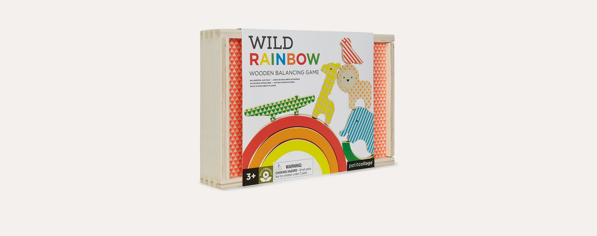 Neutral Petit Collage Wild Rainbow Wooden Balancing Game