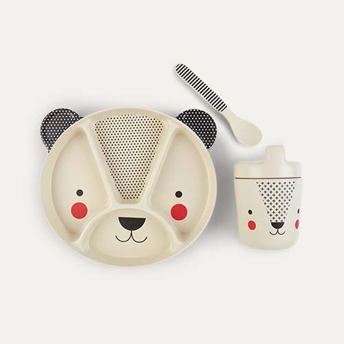 White Petit Collage Bear Baby Bamboo Dinnerware Set