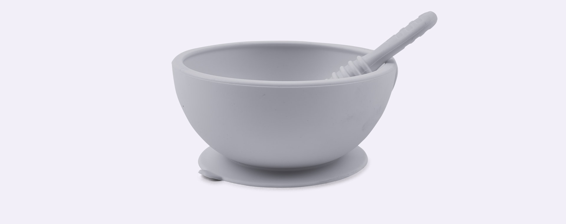 Grey Bumkins Suction Silicone Baby First Feeding Set