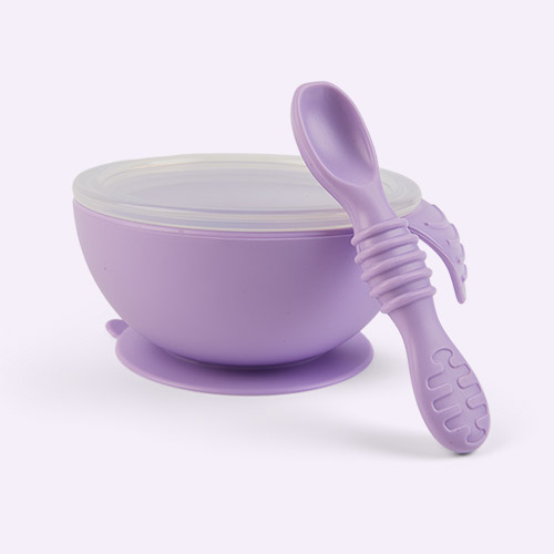 Lavender Bumkins Suction Silicone Baby First Feeding Set