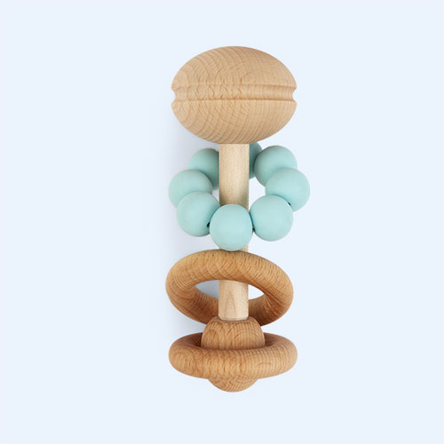 Mint Blossom & Bear Wooden Rattle