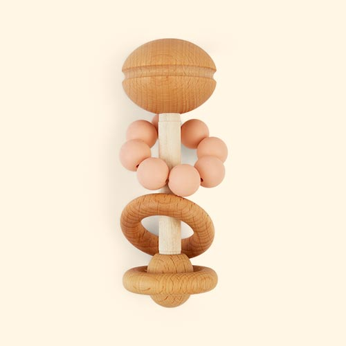 Peach Blossom & Bear Wooden Rattle
