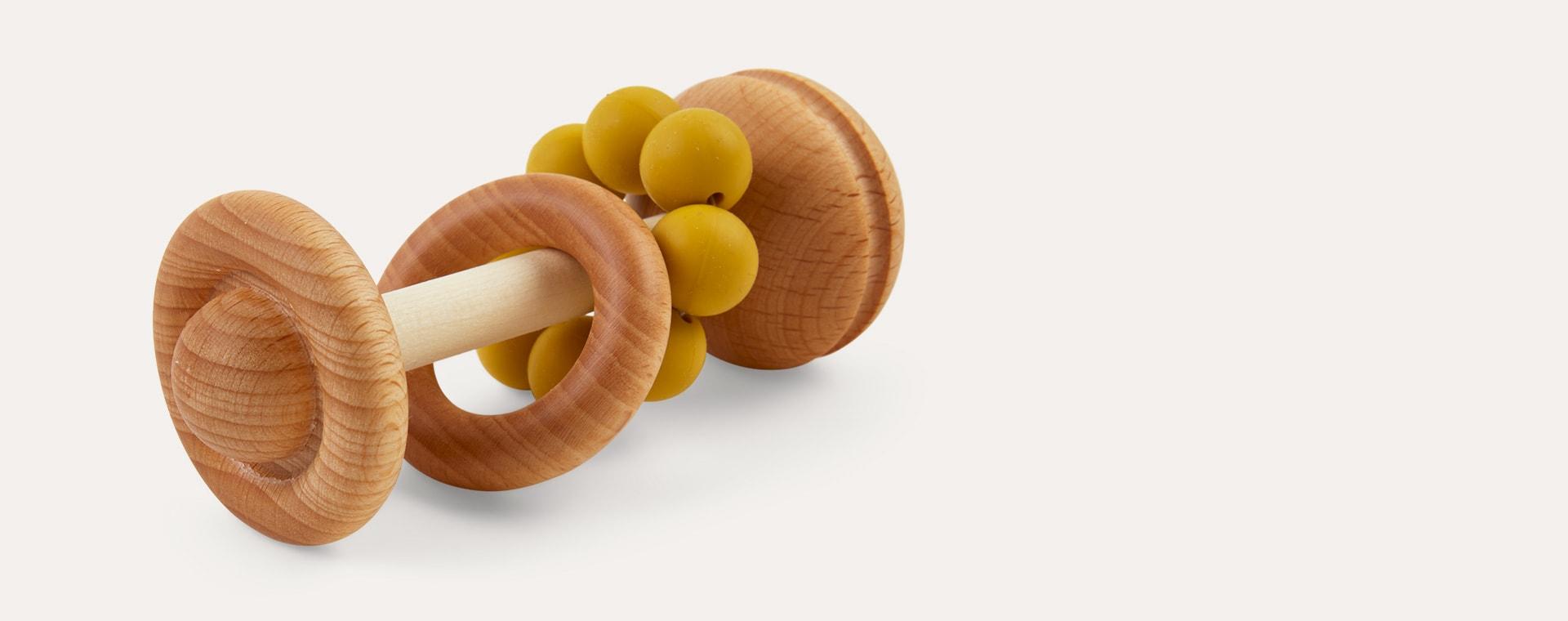 Mustard Blossom & Bear Wooden Rattle