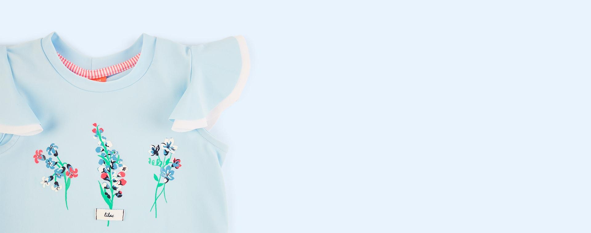 Baby Blue Sunuva Girls Flutter Rash Vest