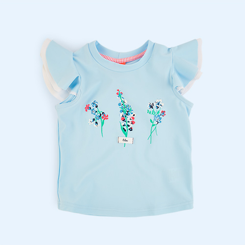 Baby Blue Sunuva Girls Flutter Rash Vest