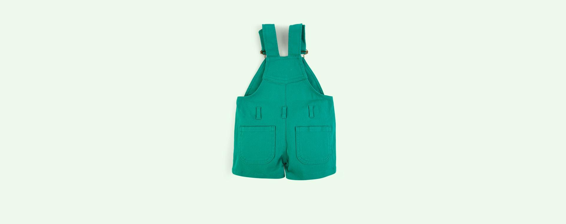 Emerald Green Dotty Dungarees Denim Short Dungarees