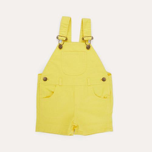 Sunshine Yellow Dotty Dungarees Denim Short Dungarees