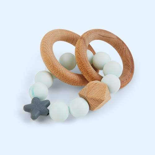 Aqua Marble Nibbling Natural Wood Rattle Ring