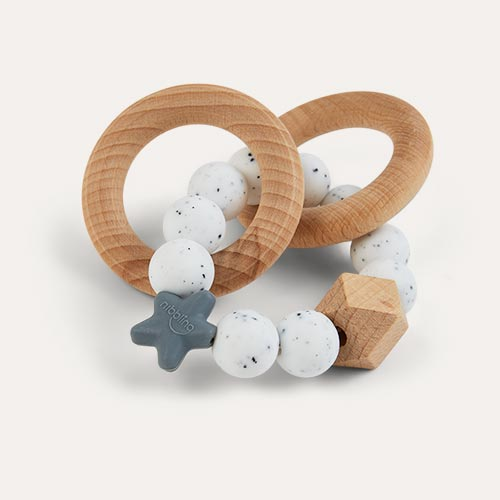 Speckled Nibbling Natural Wood Rattle Ring