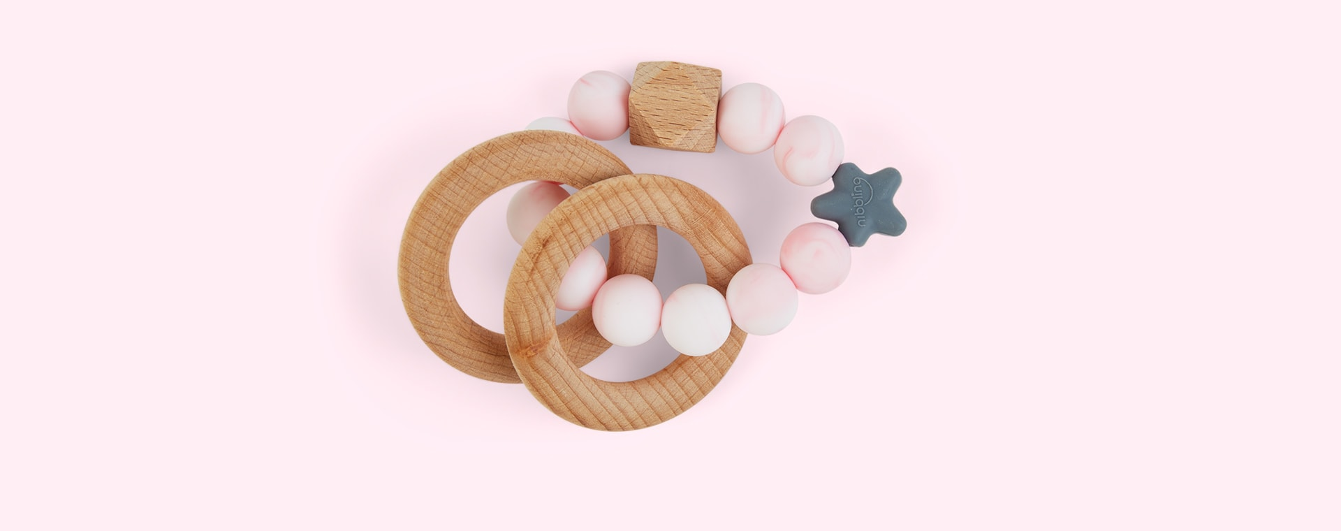 Marble Pink Nibbling Natural Wood Rattle Ring