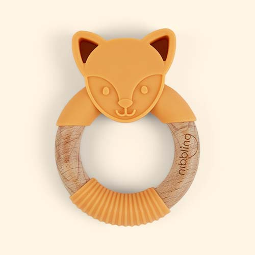 Flex Fox Orange Nibbling Fox Teething Ring