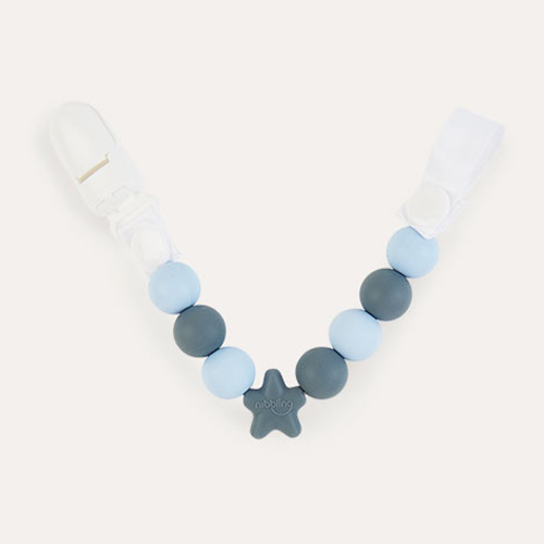 Baby Blue & Grey Nibbling Comet Dummy Clip